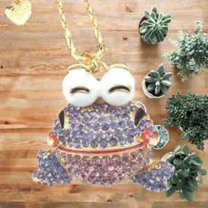 Jewelry - Frog Rhinestone Long Charm Necklace